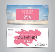 Happy Valentine's Day, Gift certificates and vouchers, discount coupon or banner web promotion template with blurred background.