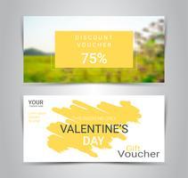 Gelukkige Valentijnsdag, cadeaubonnen en vouchers, kortingsbon of banner web promotie sjabloon met onscherpe achtergrond.