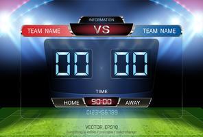 Marcador de cronometraje digital, equipo de partidos de fútbol A contra equipo B, plantilla gráfica de transmisión de estrategia.
