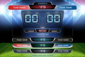 Digital timing scoreboard and Lower thirds template, Soccer or football match team A vs team B.