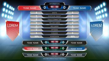 Modello del tabellone segnapunti e dei terzi inferiori, squadra di calcio sport e partita di calcio A vs squadra B.