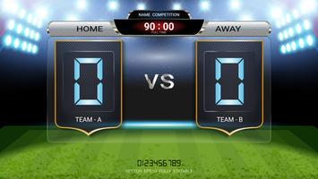 Digital timing scoreboard, Football match team A vs team B.
