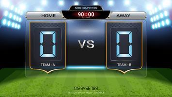 Digital timing scoreboard, Football match team A vs team B.