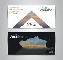 Cadeaubonnen en vouchers, kortingsbon of banner websjabloon met onscherpe achtergrond.