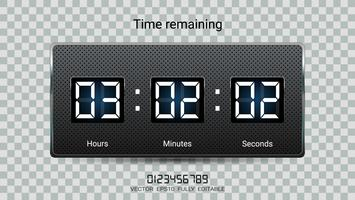 Countdown timer remaining or Clock counter scoreboard with hour, minutes and seconds display.