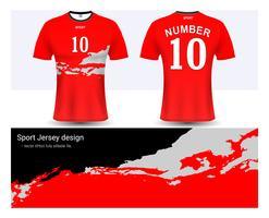 Fotbollströja och t-shirt sportmockupmall, Grafisk design för fotbollsklubb eller aktiva uniformer.