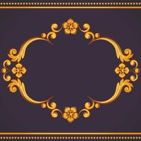 Ornamental vintage frame. Vector illustration in yellow and violet colors