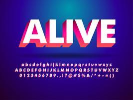 Stile futuristico di alfabeto moderno 3d