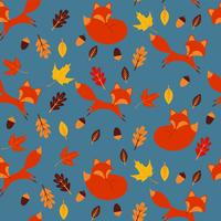 Seamless pattern with foxes vector