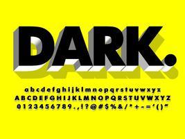 Fuente negra simple con efecto de extrusión 3d