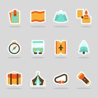 Autocollant d'icônes d'été plat vecteur