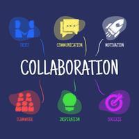 Colaboración y trabajo en equipo con iconos.