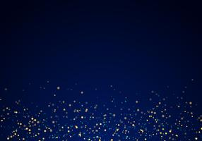 Abstract falling golden glitter lights texture on a dark blue background with lighting.