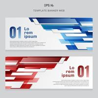 Set of banner web template technology geometric red and blue color shiny overlapping motion background