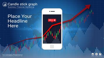 Mobile stock trading concept with candlestick and financial graph charts on screen.