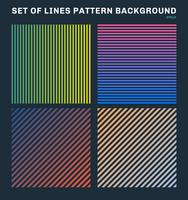 Set of colorful lines pattern background and texture vector