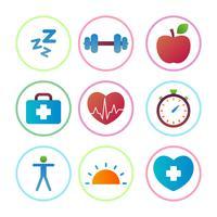 Iconos planos de estilo de vida saludable