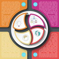 Business brochure infographic with circle on center.