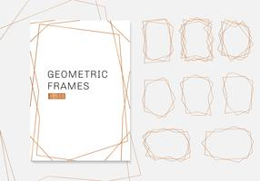 Gold geometric polyhedron frames collection. luxury templates art deco style for wedding invitation