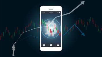 Mobile stock trading concept with bitcoin and candlestick graph charts on screen.