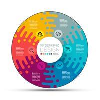 Rótulos de círculo de negócios forma infográfico grupos bar.
