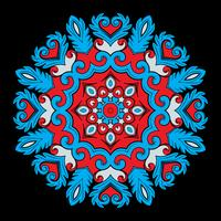 Bright round ornamental element for design in red and blue colors.