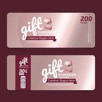 Gift Voucher RAMADAN KAREEM Voucher, Coupon template Golden, Design concept for gift coupon