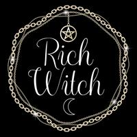 Rich Witch. Kort eller t-shirt designkoncept. Kedjestativ med pentagram hänge, text. Vektor illustration.