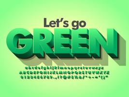 Naturaleza verde 3d negrita tipografía verde