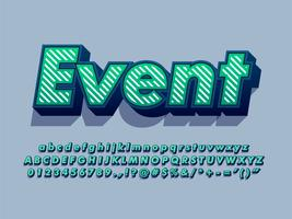 3d Font  Typography Text With Stripe Pattern