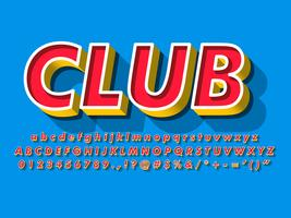 Red Alphabet With Yellow Extrude And Blue Background