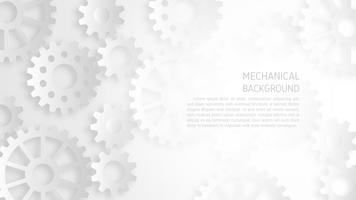 Abstract white mechanical gear background concept.