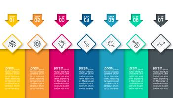 Infographics on colorful layers abstract vector background.