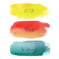 Reeks van de kleurrijke borstel strijkt waterverf op witte baclground, Vectorillustratie.
