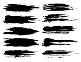 Conjunto de trazos de pincel, pinceladas grunge tinta negra. Ilustracion vectorial