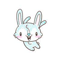 vecteur de doodle mignon petit lapin et dessin animé lapin