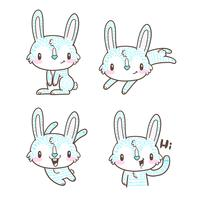 cute little bunny and rabbit cartoon doodle vector