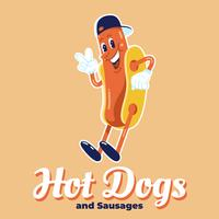 Hot Dogs Logo Design Funny Characters Illustration