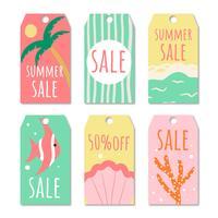 Collection de soldes d'été, étiquettes dessinées à la main