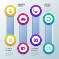 Vier stappen 3D Infographics sjabloon