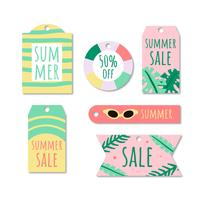 Collection d'étiquettes d'été mignon Doodle