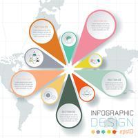Negocio etiquetas infografía sobre fondo de mapa del mundo.