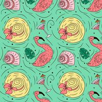 Doodle Summer Pattern With Flamingo Hat And Drink