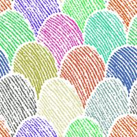 Colorful doodle fingerprint drawing seamless background. vector