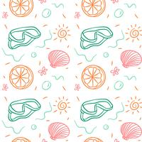 Doodle Summer Pattern With Coral, Orange And Sun