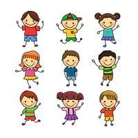 Niños de dibujos animados de mano drwing vector