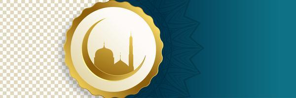 islamisk måne och moskébanner med textutrymme