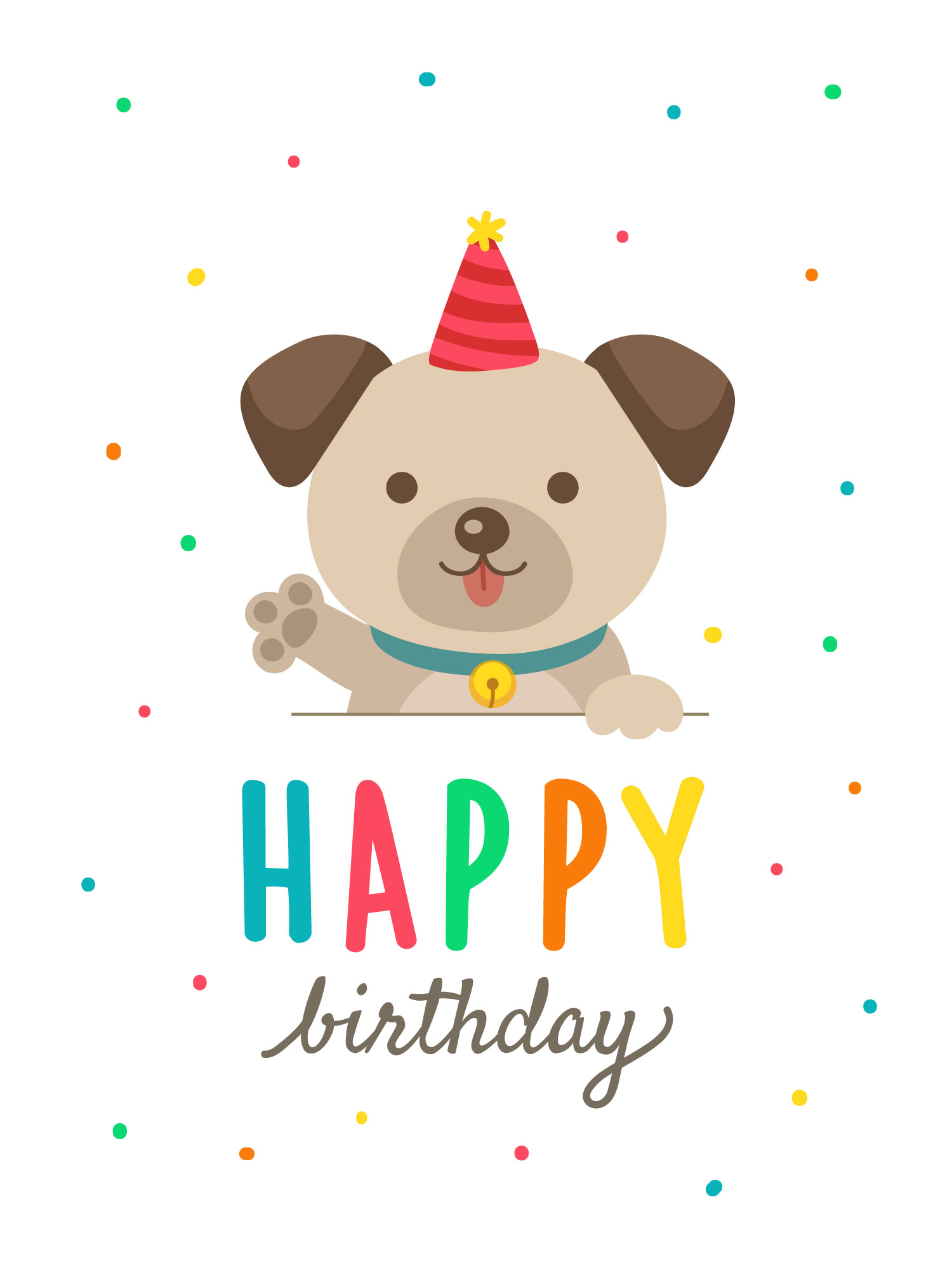 Birthday Cards With Cute Cartoon Dog Download Free Vectors Clipart Graphics Vector Art