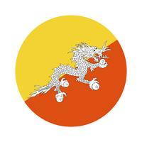 Runde Flagge von Bhutan.
