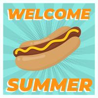 Flat Vintage Hotdog Summer Food Vector Illustration